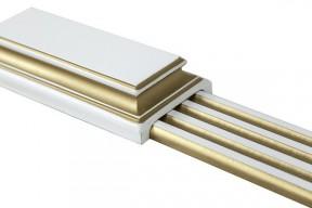 Дверь Алина-2 белая с золотой патиной