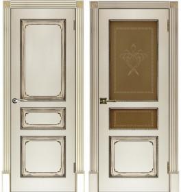 Дверь Классика-5 слоновая кость с патиной орех
