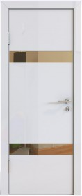 Дверь Модерн ДО-502 белый глянец (зеркало бронза)