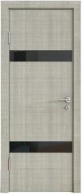 Дверь Модерн ДО-502 дуб серый (стекло черное)