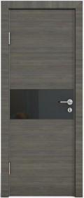 Дверь Модерн ДО-501 ольха темная (стекло черное)