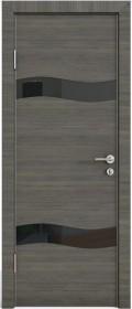 Дверь Модерн ДО-503 ольха темная (стекло черное)