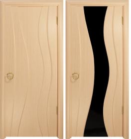 Дверь Корса беленый дуб черный триплекс