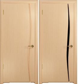 Дверь Вэла 1 беленый дуб черный триплекс