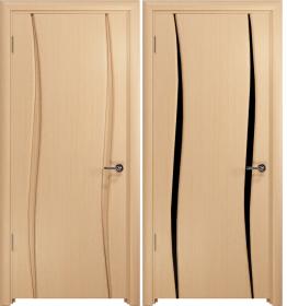 Дверь Вэла 2 беленый дуб черный триплекс