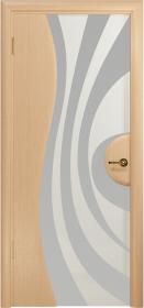 Дверь Ветра 1 беленый дуб белый триплекс с рисунком