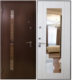 Дверь Патриот 368/51 беленый дуб с зеркалом