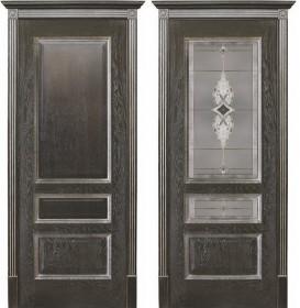 Дверь Вена чёрная патина (Витраж)