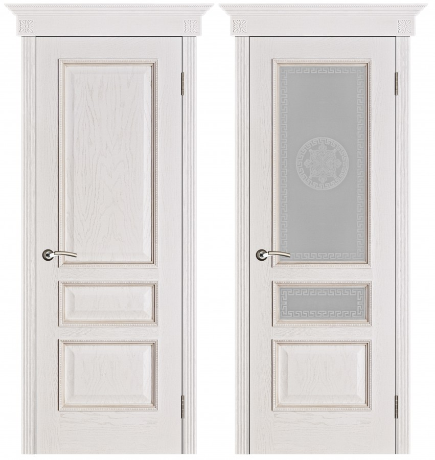 Шпонированная дверь Вена белая патина (Версачи)