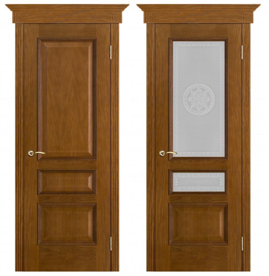 Шпонированная дверь Вена античный дуб (Версачи)