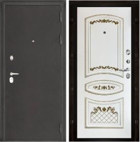 Дверь Колизей Алина эмаль белая с золотой патиной