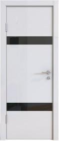 Дверь Модерн ДО-502 белый глянец (стекло черное)