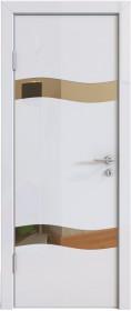 Дверь Модерн ДО-503 белый глянец (зеркало бронза)