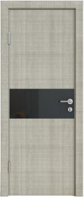 Дверь Модерн ДО-501 дуб серый (стекло черное)