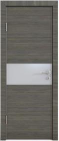Дверь Модерн ДО-501 ольха темная (стекло белое)