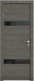 Дверь Модерн ДО-502 ольха темная (стекло черное)