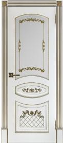 Алина-2 белая с золотой патиной со стеклом
