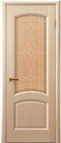 Дверь Лаура Lux Legend беленый дуб со стеклом