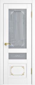 Дверь Лестер L-3 белый с золотом со стеклом