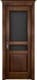 Дверь массив ольхи Гармония античный орех со стеклом