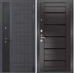 Дверь Luxor 34 Лу 22 венге экошпон стекло черное
