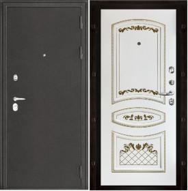 Дверь Колизей темное серебро Алина белая с золотой патиной эмаль
