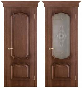 Дверь Премьера патина голд (Витраж)